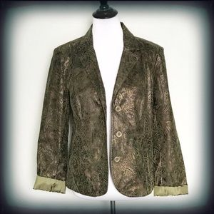 Erin London Green Shimmer Blazer Medium EUC